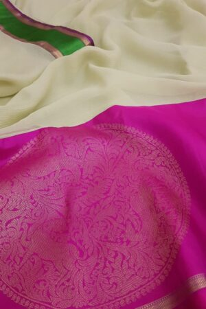 Pale green chiffon saree with pink and green silk border4