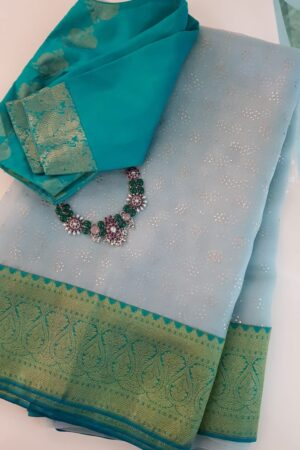 Pale green organza saree with teal kanchipuram silk border