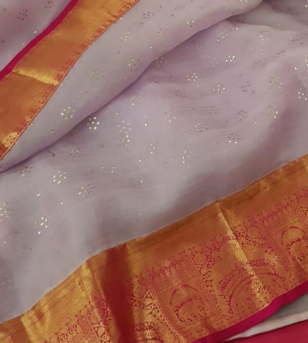 Pale lilac organza with pink kanchipuram border3