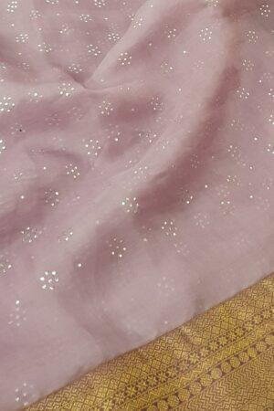 Pale lilac saree with mauve kanchipuram silk border2