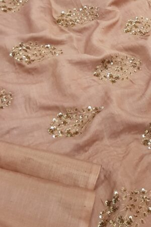 Peach tussar saree with embroidered pallu2