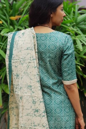 Peacock green and beige batik dupatta set1