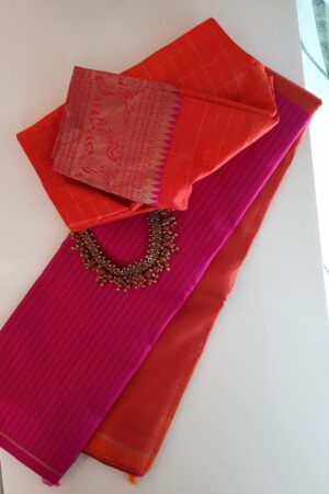 Pink and orange half and half kanchipuram silk saree