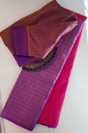 Pink and violet half and half kanchipuram silk saree