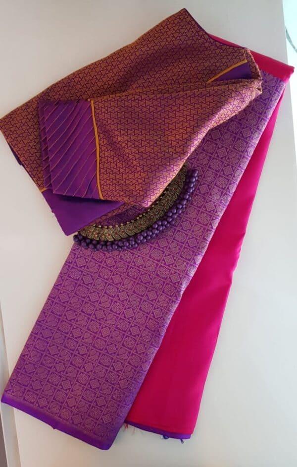 Pink and violet half and half kanchipuram silk saree