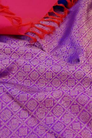 Pink and violet half and half kanchipuram silk saree1