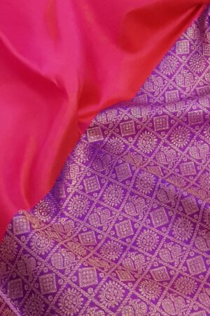 Pink and violet half and half kanchipuram silk saree2