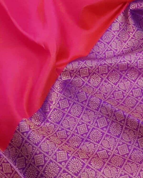 Pink and violet half and half kanchipuram silk saree2