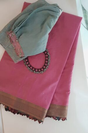 Pink mangalgiri cotton saree with kalamkari samosa