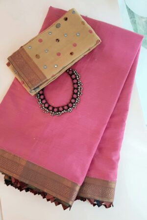 Pink mangalgiri cotton saree with kalamkari samosa.1