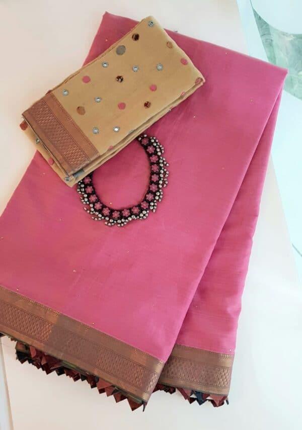 Pink mangalgiri cotton saree with kalamkari samosa.1