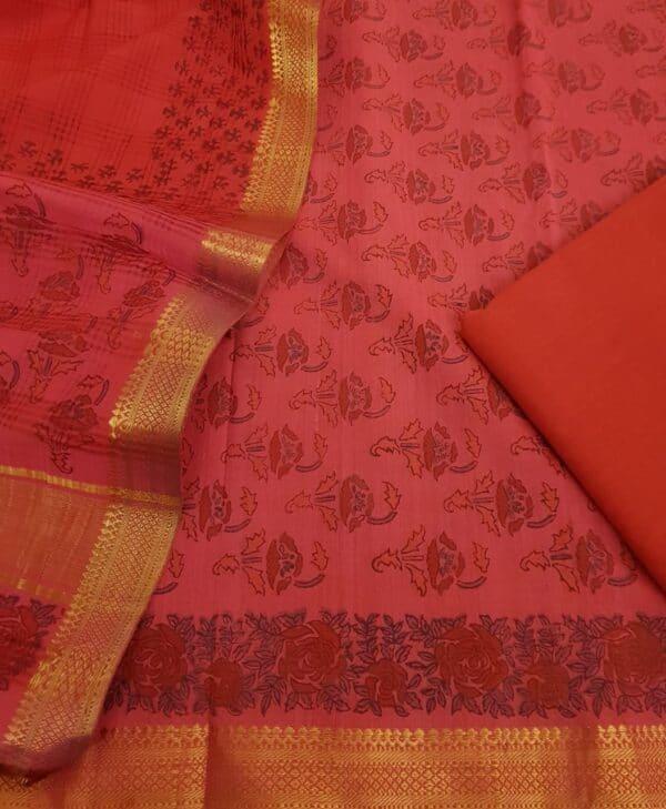 Pink mangalgiri suit set