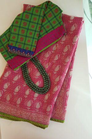 Pink mango print dhabu kota saree with green silk border
