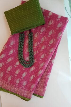 Pink mango print dhabu kota saree with green silk border1
