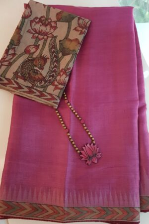 Pink temple border tussar saree