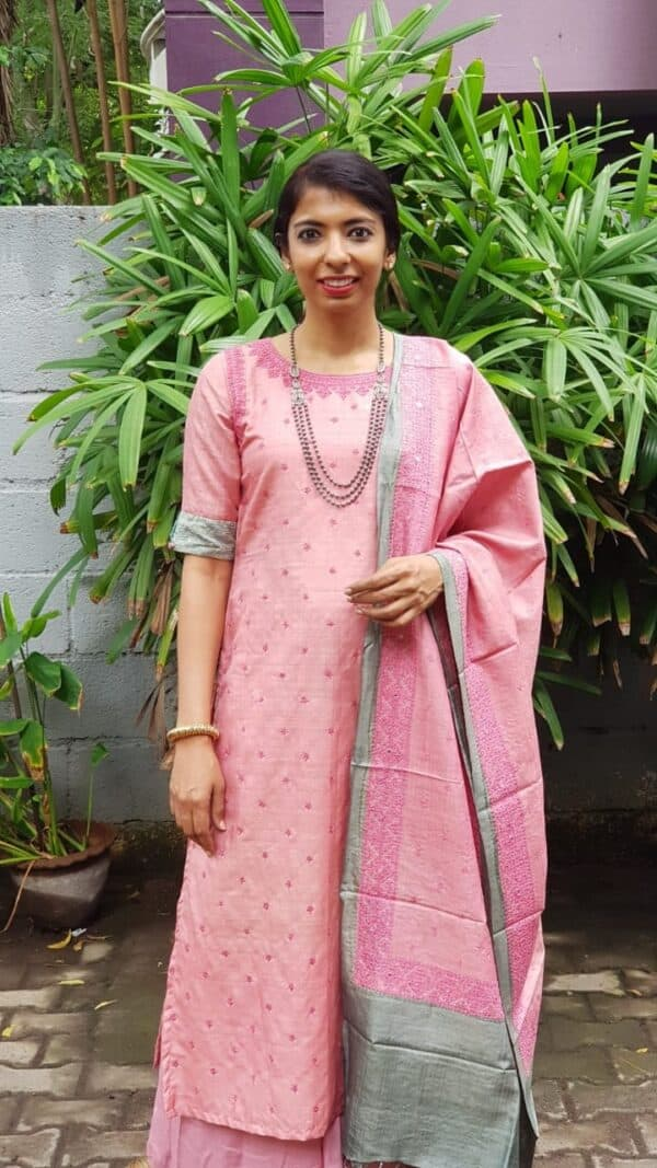 Pink tussar with kutch workPink tussar with kutch work