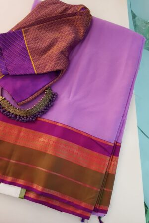 Purple chiffon saree with multi colour silk border