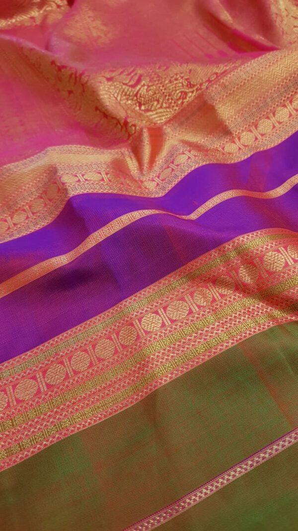 Purple chiffon saree with multi colour silk border1