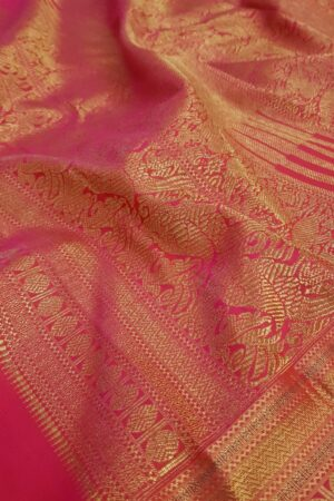 Purple chiffon saree with multi colour silk border2