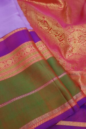 Purple chiffon saree with multi colour silk border3