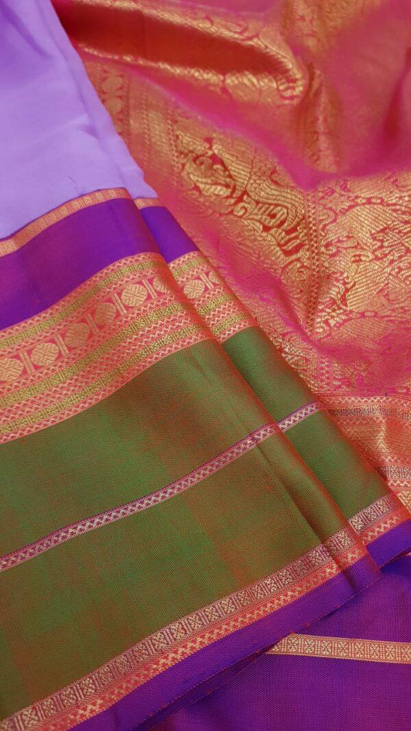 Purple chiffon saree with multi colour silk border3