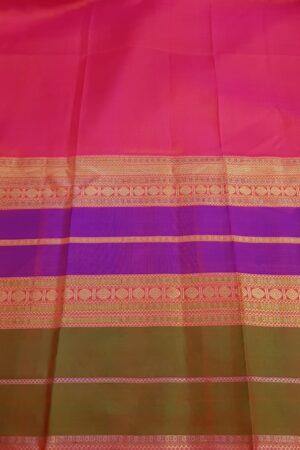 Purple chiffon saree with multi colour silk border4