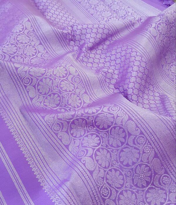 Purple kanchipuram silk sareePurple kanchipuram silk saree with silver zari1 with silver zari1