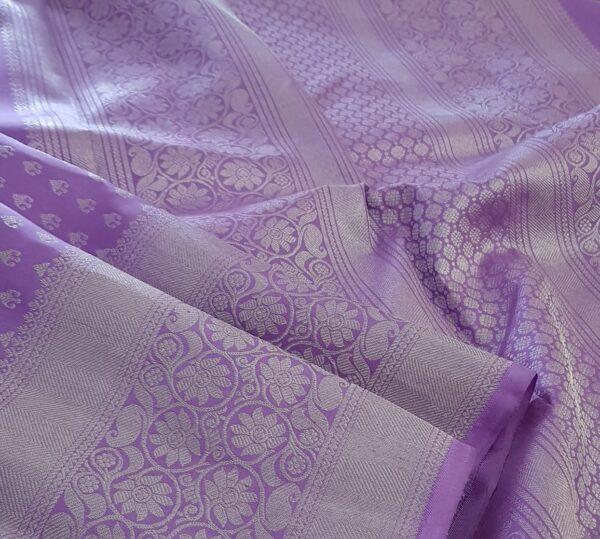 Purple kanchipuram silk saree with silver zari3