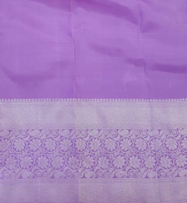 Purple kanchipuram silk sareePurple kanchipuram silk saree with silver zari4 with silver zari4