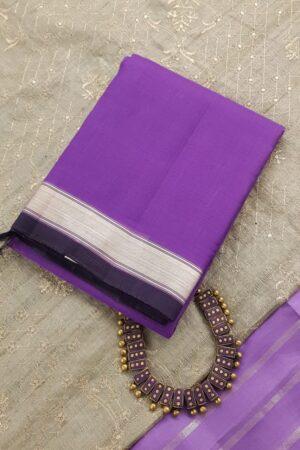 Purple kora kanchipuram dupatta with silver zari border