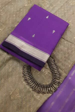 Purple kora kanchipuram dupatta with zari border