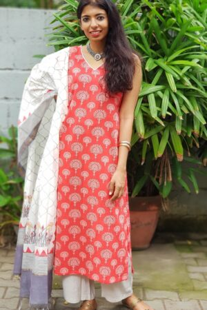 Red grey top with chanderi dupatta