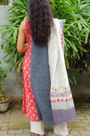 Red grey top with chanderi dupatta1