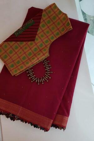 Reddish maroon mangalgiri cotton saree with kalamkari samosa