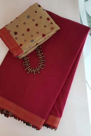 Reddish maroon mangalgiri cotton saree with kalamkari samosa1