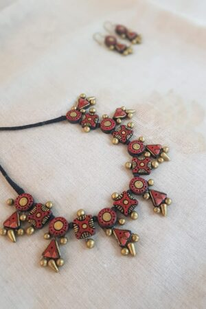 Rust and gold terracotta neck piece