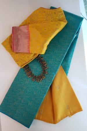 Teal green and mustard kanchipuram silk saree