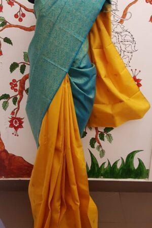 Teal green and mustard kanchipuram silk saree4
