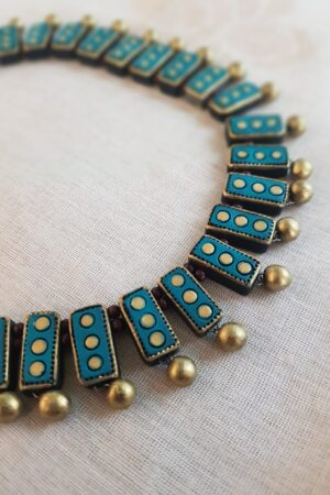 Teal green terracotta neck piece2