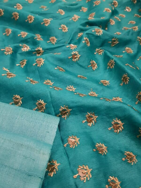 Turquoise blue tussar saree with embroidered pallu2