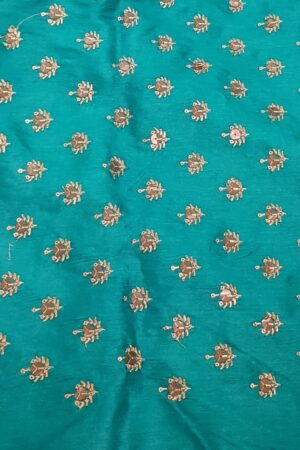 Turquoise blue tussar saree with embroidered pallu3