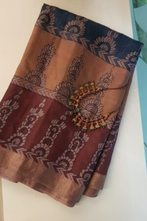 Tussar kalamkari sari with zari border