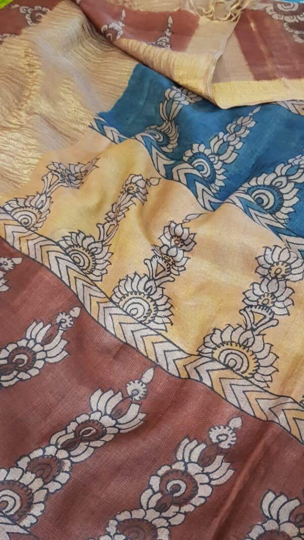 Tussar kalamkari sari with zari border1