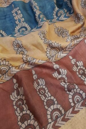 Tussar kalamkari sari with zari border2