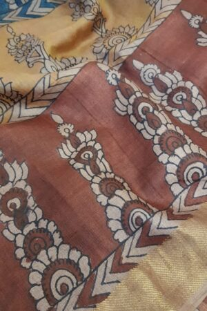 Tussar kalamkari sari with zari border3
