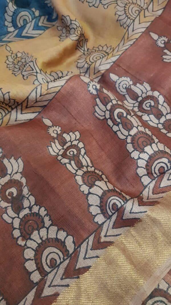 Tussar kalamkari sari with zari border3