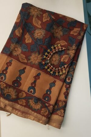 Tusssar kalamkari saree with zari border