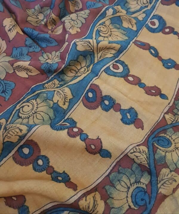Tusssar kalamkari saree with zari border3