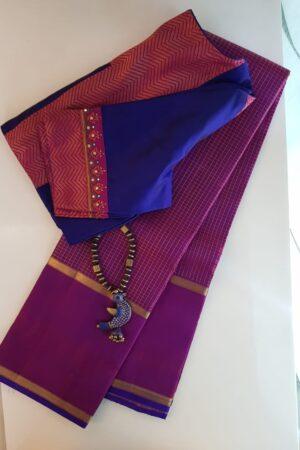 Violet kanchipuram silk saree