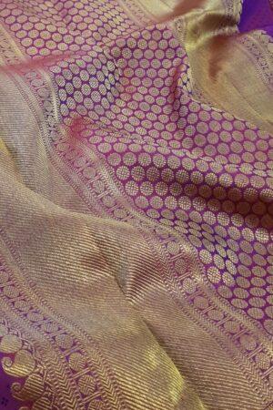 Violet kanchipuram silk saree1